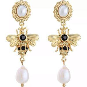 Betsey Johnson Bumble Bee Pearl Earrings
